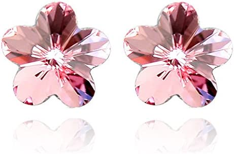 18K White Gold Plated Sakura Cherry Blossom with Crystal Flower Stud Earrings Hypoallergenic for Girls Women Christmas Gifts