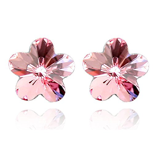 Jazlyn White Gold Plated Sparkling Romantic Sakura Cherry Blossom Flower Australia Crystal Stud Earrings for Women Girls Party Ball Wedding (Light Pink Crystal) -