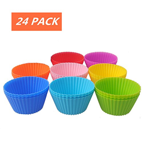 Daixers Reusable Silicone Baking Cups For Cake Muffin Molds,Cupcake Liners (24-Pack) 8 (Cupcake Liners Cheetah)