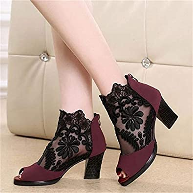 Paul Kevin Lace Mesh Womens Latin Dancing Shoes High-Heeled Boots
