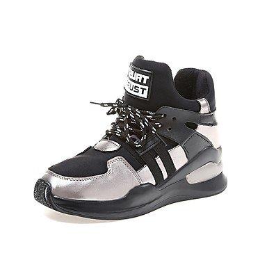 Negro Botas Pu Ronda Mujer Moda De For Gris Casual UK3 5 EU36 Up Botas Invierno Lace Toe Zapatos US5 CN35 Talón RTRY 5 Plano vxYqXwETT