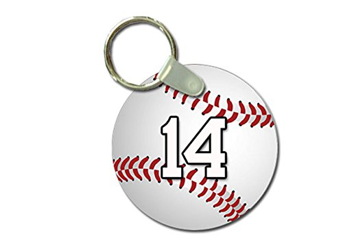TYD Designs Key Chain Sports Baseball Customizable 2 Inch Metal and Fully Assembled Ring with Any Team Jersey Player Number 14 ()