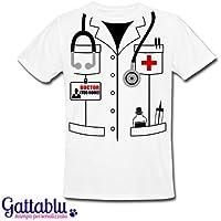 T-shirt uomo Camice da dottore PERSONALIZZATA CON IL TUO NOME, idea divertente costume Carnevale, regalo per medico o laurea per studente di medicina!