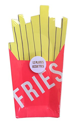 French Fry Plate - Festive Novelty Paper Party Plates (French Fries - 12 Piece)