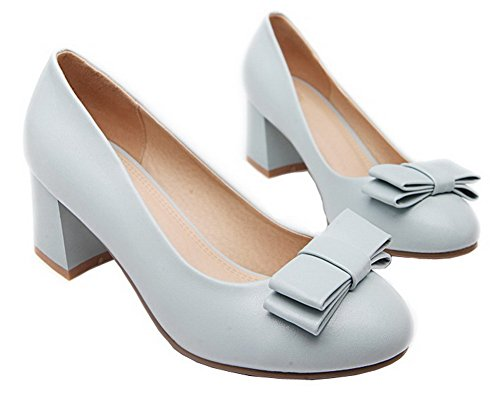 Closed Pumps Toe Heels Shoes WeenFashion Solid Blue Women's On Kitten Pu Round Pull qYxXpwvS