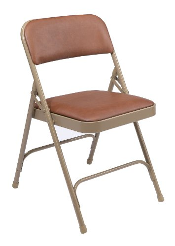 National Public Seating 1200 Series Steel Frame Upholstered Premium Vinyl Seat and Back Folding Chair with Double Brace, 480 lbs Capacity, Honey Brown/Beige (Carton of 4) by NPS