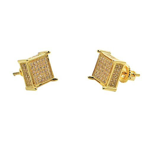 [24K Gold Plated Hip Hop Iced Out Thick Square Earrings With CZ Diamonds] (Guys Hip Hop Dance Costumes)