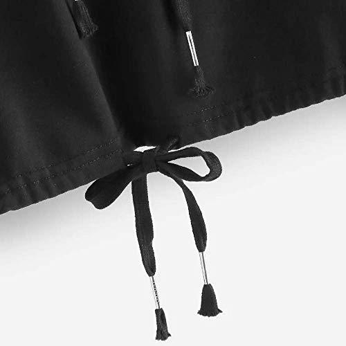 Tops Mode Top Manches À À Taille Couleur couleur XL Noir Pull Street Unie Vêtements La À Longues Capuche Femmes Décontracté Sweat Zhrui Fille vUq7OO