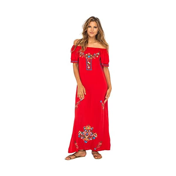 7349d3fe40af Home / Off Shoulder / Back From Bali Womens Long Mexican Embroidered Dress  ...