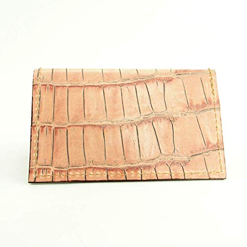 Minimalist Wallet in Pink Croc-Embossed Leather with RFID Blocking