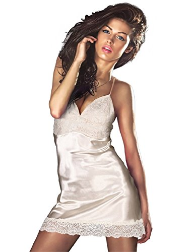 AdoBella Luxurious Satin Nightgown, Babydoll Chemise Nighty, White with Laces