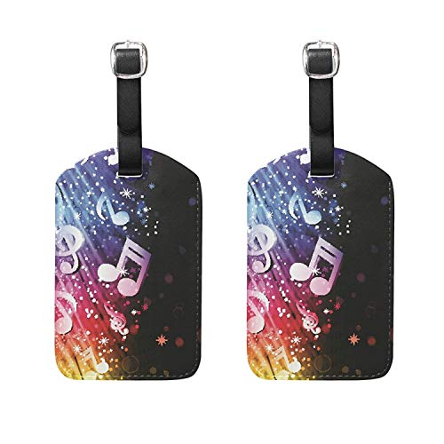 Set of 2 Luggage Tags Music Note Wave Suitcase Labels Travel Accessories