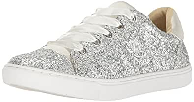 Blue by Betsey Johnson Women's SB-Rae Fashion Sneaker, Silver Glitter, 5.5 M US