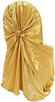 Wedding Linens Inc. (2 PCS) Satin Universal Chair Covers / Self-Tie Chair Cover for Restaurant Wedding Party Banquet Events – Gold