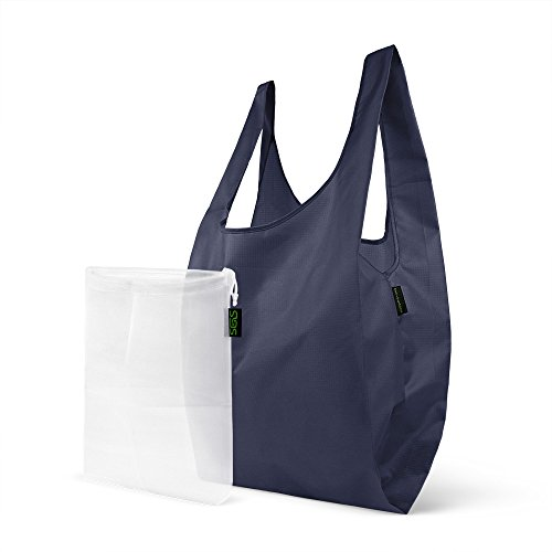 sgs-polyester-reusable-grocery-shopping-tote-with-nylon-mesh-produce-bag-set-navy-blue
