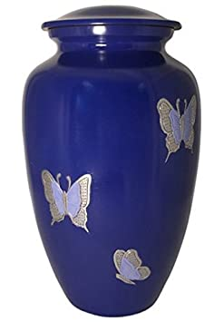 Liliane Memorials Blue Butterflies Funeral Cremation urn Violette Model in Aluminum for Human Ashes Suitable for Cemetery fits Remains of Adults up to 200 lbs, Large 200 lb,