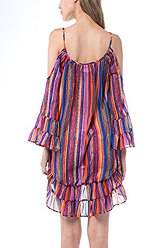 Las mujeres rayas hueco túnica camisas Casual Vestido de Colorblock
