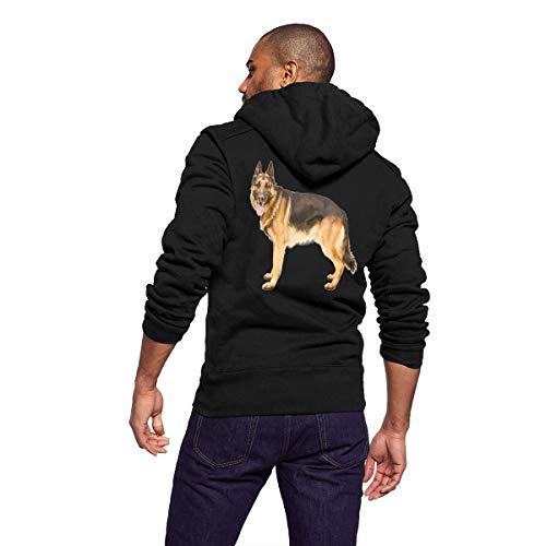 Mens Fleece Hoodie for Men Man Pullover Hooded Sweatshirt Zipper Outwear Trucker Jacket Fashion Coat - German Shepherd Dog ()