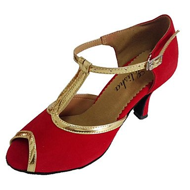 XIAMUO Anpassbare Damen Tanzschuhe Latein/Ballsaal Lackleder/Beflockung angepasste Ferse Rot, Schwarz/Rot, Us7.5/EU38/UK5.5/CN 38