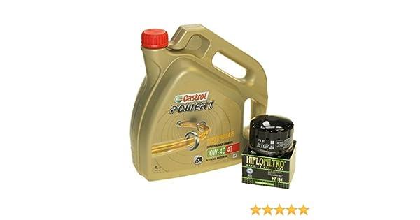 Set para cambio de aceite, 4 litros, Castrol, SAE 10 W-40 Power 1, 4T, incluye filtro de aceite HiFlo HF164, p. ej., BMW F 650, K 1200, R 1200, ...