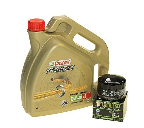 Set para cambio de aceite, 4litros, Castrol, SAE 10W-40Power 1,4T, incluye filtro de aceite HiFlo HF164, p. ej., F 650, K 1200, R 1200, K 1600