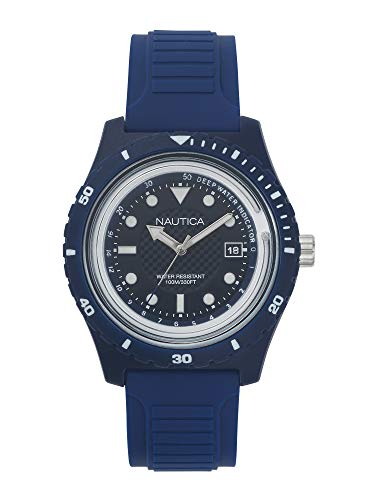 Nautica Men's Ibiza Quartz Sport Watch with Silicone Strap, Blue, 22 (Model: NAPIBZ005)
