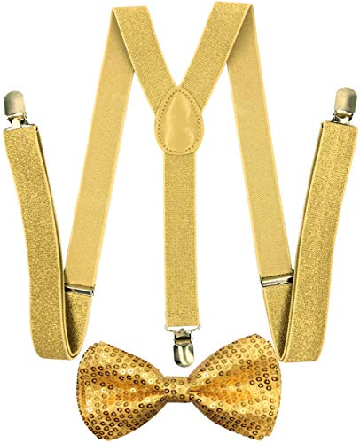 CD Suspender with Matching Bow Tie Set  Elastic, Adjustable, Y-Back  for Men and Women (Sequined Gold)
