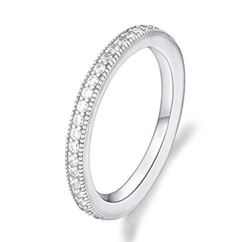 Venetia Milgrain Pave Simulated Band Ring Solid 925 Silver Platinum Plated mil60 ()