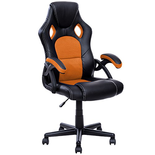 Giantex Racing Chair High Back Bucket Seat Swivel Executive Office Computer Task Desk Gaming Chair (Orange+Black)