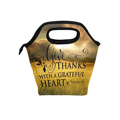 Abbylife Bible Verse Quotes Give Thanks With A Grateful Heart Insulated Lunch Bag Reusable Tote Bag Cooler Lunchbox (Give Thanks With A Grateful Heart Bible Verse)