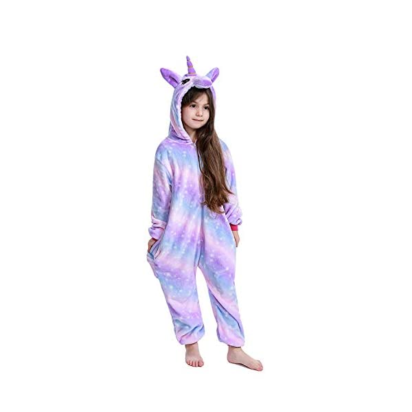 FuRobes Kids Unicorn Onesie Pajamas,One Piece Children Cosplay Animal Costume Halloween Sleepwear for Girls and Boys Gift 8