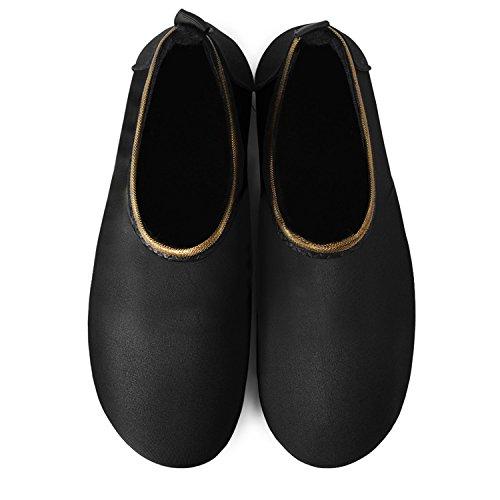JOINFREE Damen Herren Kid Sommer Wasser Schuhe Barfuß Schuh Quick Dry Aqua Socken Yoga Gold Schwarz