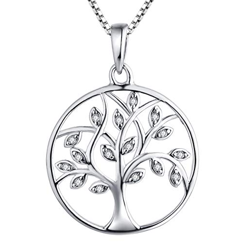 YL Tree of Life Necklace Sterling Silver Cubic Zirconia Circle Pendant Giving Tree Jewelry