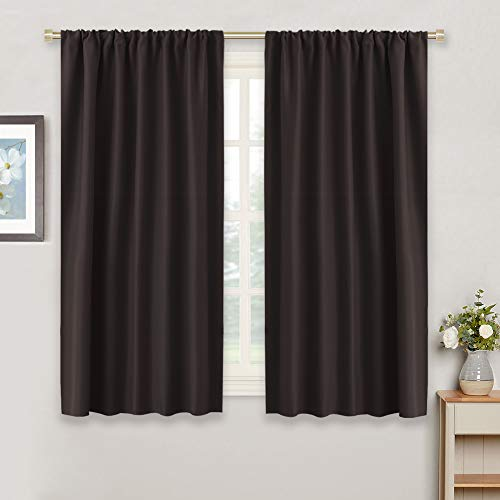 - RYB HOME Kitchen Bathroom Blackout Curtain Drapes Thermal Insulated Noise Reducing & Room Darkening Curtains and Draperies Rod Pocket for Nursery Baby Room, 42