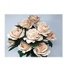 "17"" Open Rose Bush Artificial Silk Wedding Bridal Bouquet Flowers 12 Roses Beige 79"