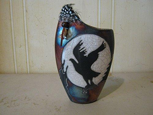 Eagle Flower Vase Raku Ceramic Pottery - Vase Eagle