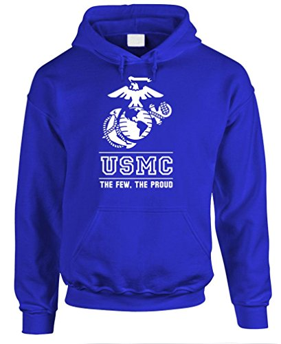 THE FEW THE PROUD THE MARINES usmc marine - Mens Pullover Hoodie, M, Royal
