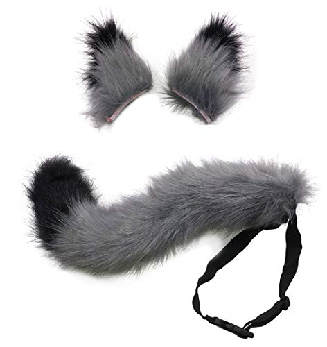 It A Party Halloween Costumes (HAOAN Kids/Adult Faux Fur Fox Tail and Clip Ears Kit for Halloween Party Costume Accessories Xmas Toys)