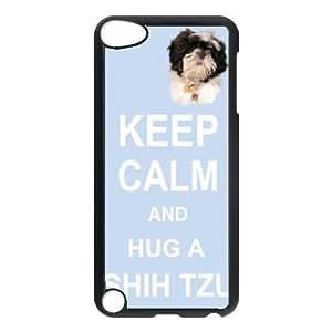 Custom Shih Tzu Dog Keep Calm and Hug Hard Case Clip on Back Cover for Ipod touch5 hjbrhga1544