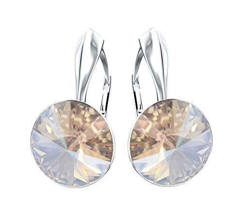 Beforya Paris - Rainbow Glow - Earrings 925 Silver - 44 Colors !! - Crystals From Swarovski - 925 Sterling Silver for Woman - Earrings with Gift Box (Moonlight)
