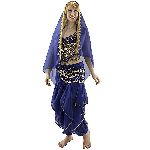 Danzcue Womens Little chilli 5-Piece Belly Dance Costume (Large, Blue) (Belly Dance Costumes Large Ladies)