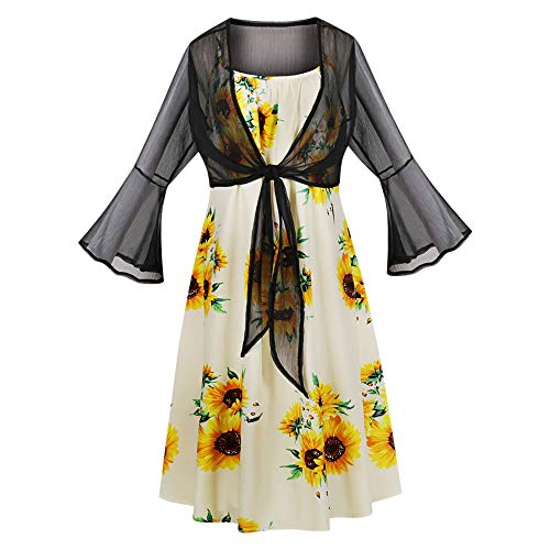 KCatsy Sunflower Printed Women Two-Piece Dress Suit Spaghetti Strap Mesh Flare Sleeve]()