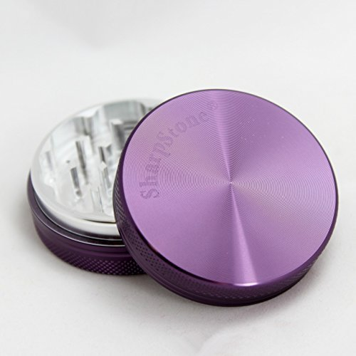 Sharp Stone Official Authentic Medium 2 Piece Grinder Hard Top 2.2 Inches Purple + Free Performance Technology Wrist Band
