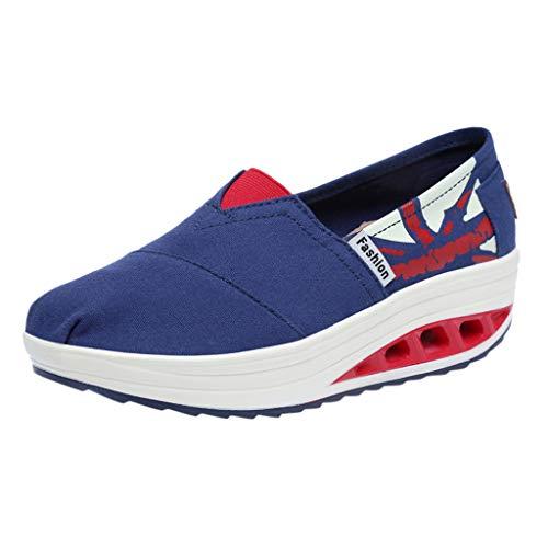 Toimothcn Women American Flag Slip on Thick Bottom Platform Sport Shoes Swing Wedges Loafers (Dark Blue,40)