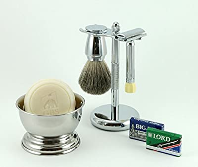 Shaving Gift Set with Merkur 500 Progress Safety Razor, Bowl, Shaving Soap, Badger Brush, Stand and Safety Razor and Blades! Ultimate wet Shaving and Beard Grooming experience