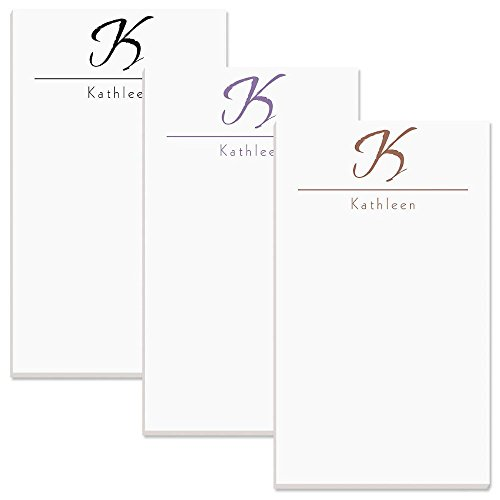 """Inspirational Personalized Notepad - 1 pad, 50 Sheets, Large 5"""" x 8-1/2"""", 3 Color Choices, Personalized with your Initial & Name, Monogram Notepad, Personalized Stationery Pad"""