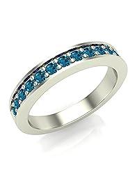 Halfway Semi-Eternity Blue Diamond Wedding Ring / Band Comfort Fit 14K Gold