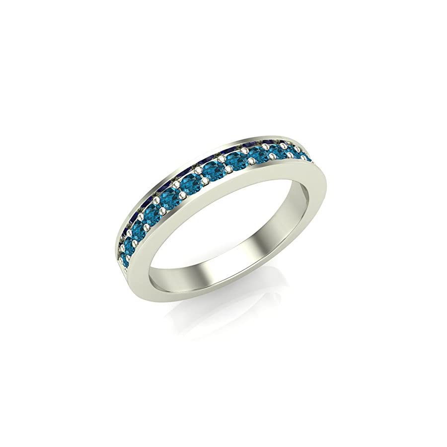 Halfway Semi Eternity Blue Diamond Wedding Ring/Band Comfort Fit 14K Gold