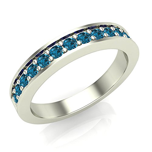 halfway semi eternity blue diamond wedding ring band comfort fit 14k gold - Blue Diamond Wedding Ring