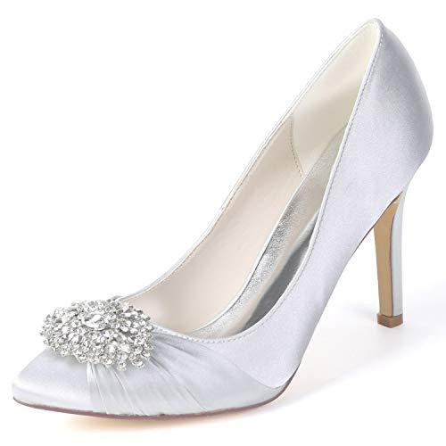Spring Heels 9 FY060 Silver Frauen Schuhe Hochzeit YC L White Satin Plattform 5 Party cm Classic Spool 0qvP5F